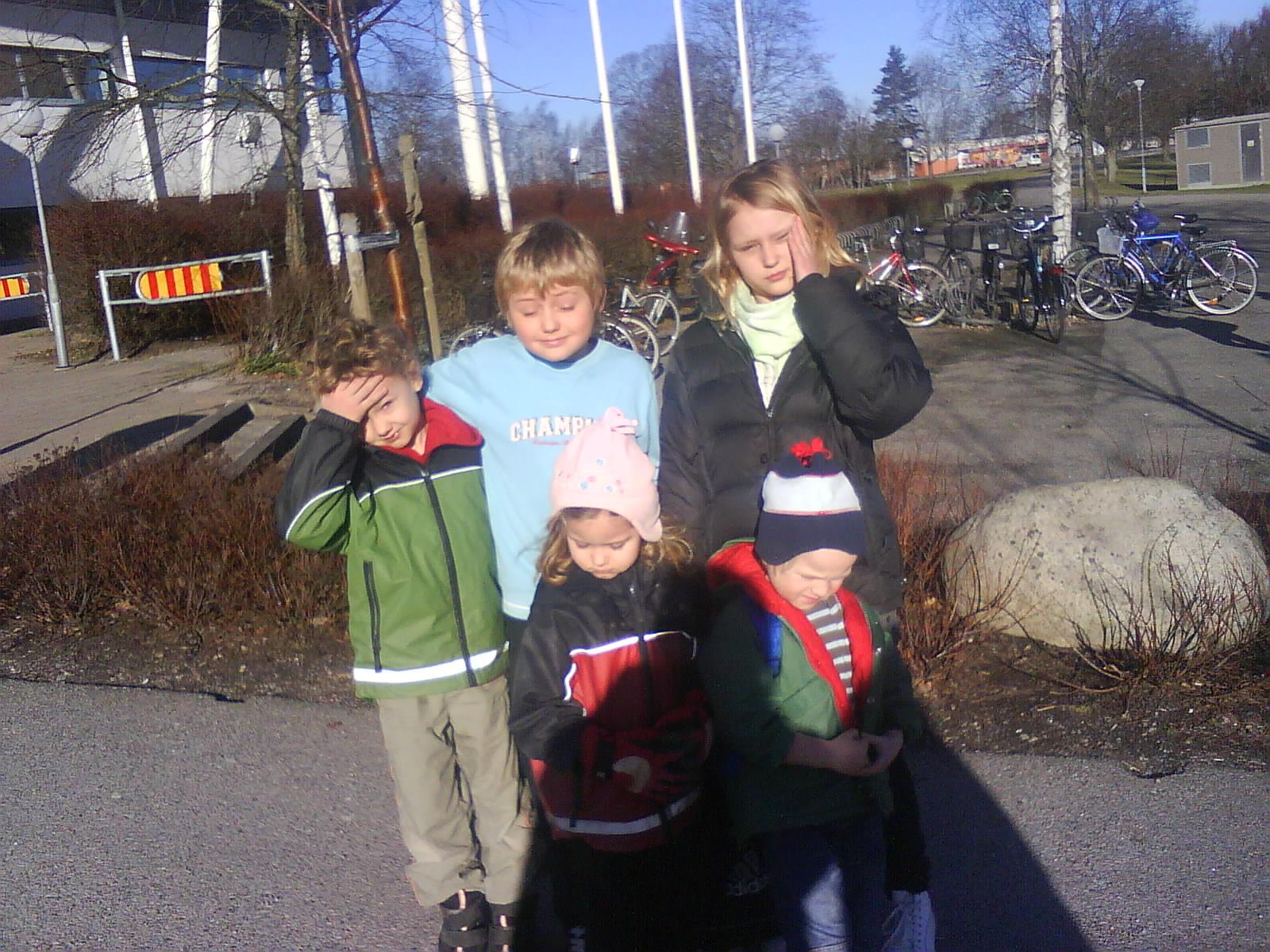 Kusiner i motljus i Örebro