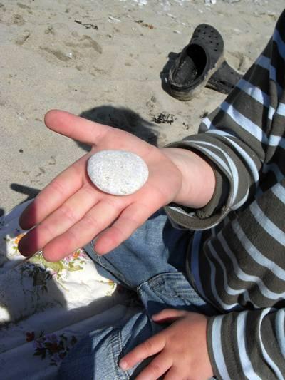 Henning hittar vackra stenar på Karlsö