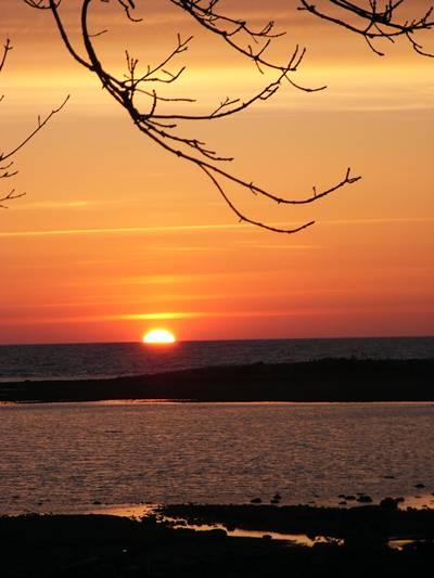 Solen nästan nere vid Långhammars